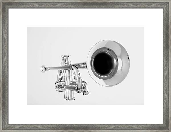 Gold Trumpet Isolated On White Framed Print