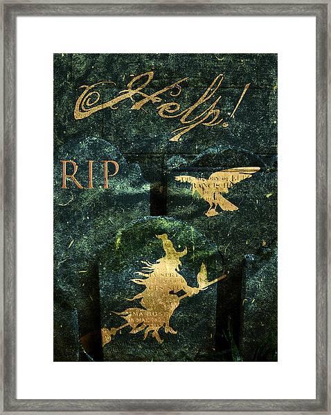 Gravestone Hell Framed Print