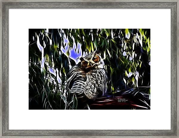Great Horned Owl - 4228 - Fractal - S Framed Print