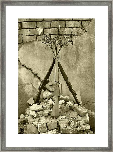 Guns Of War - Black And White Framed Print