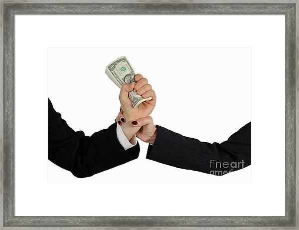 Hand Grabbing Businessman Fistful Of Money Framed Print by Sami Sarkis