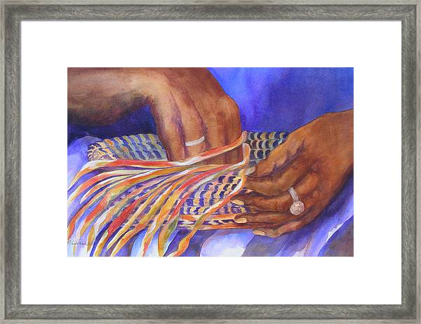 Hands Of The Basket Weaver Framed Print