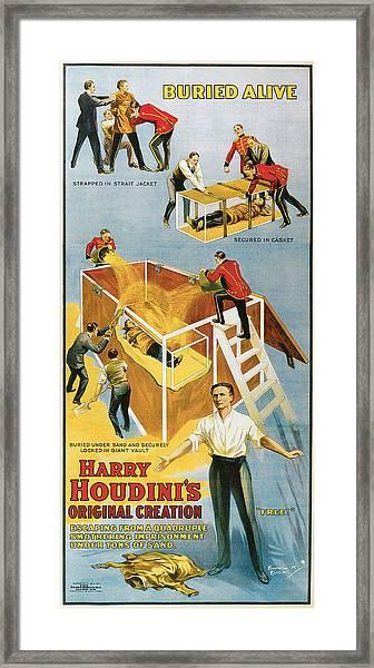 Harry Houdini Buried Alive Framed Print