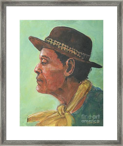 Hat And Yellow Scarf Framed Print