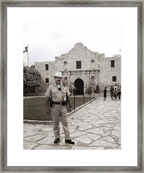 Framed Print featuring the photograph He Guards The Alamo by Lorraine Devon Wilke