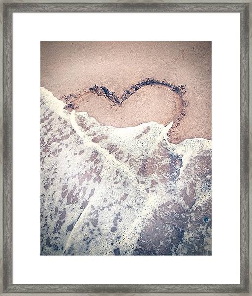 Heart In The Sand Framed Print