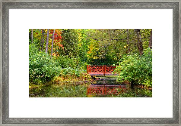 Henes Park Pond Bridge Framed Print