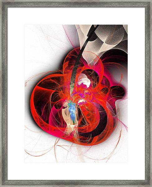 Her Heart Is A Guitar Framed Print