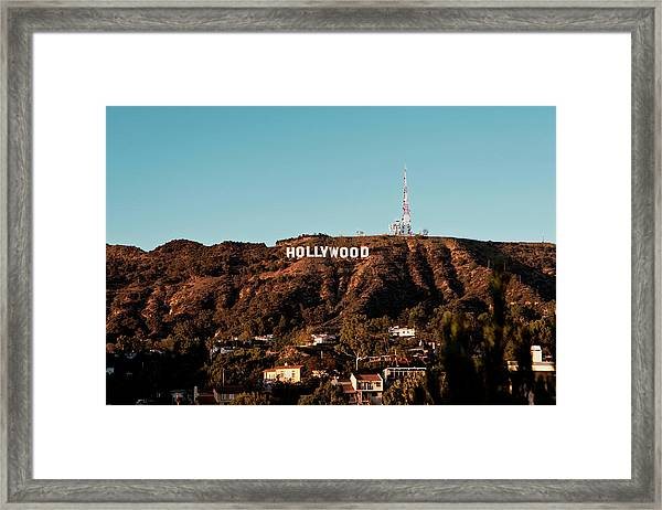 Framed Print featuring the photograph Hollywood Sign At Sunset by Lorraine Devon Wilke