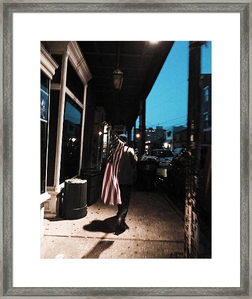 Homeless Man Carrying American Flag In New Orleans Framed Print