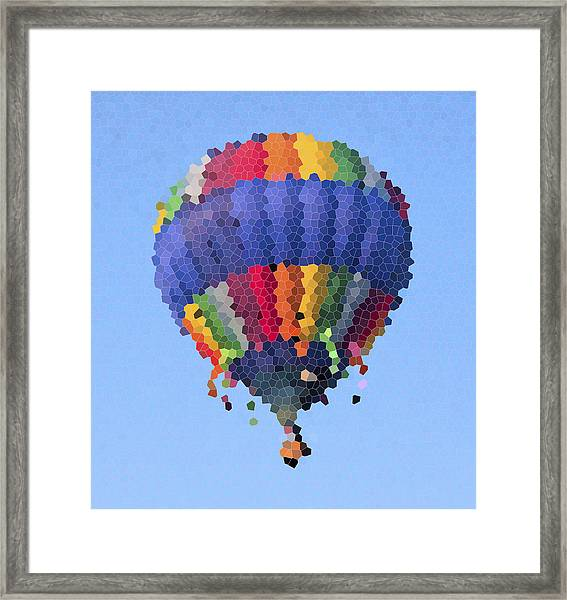 Hot Air Balloon In Stained Glass Framed Print