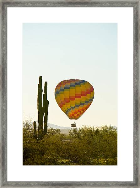 Hot Air Balloon In The Arizona Desert With Giant Saguaro Cactus Framed Print