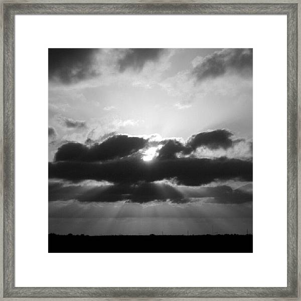 Houston Sunset In Black And White Framed Print