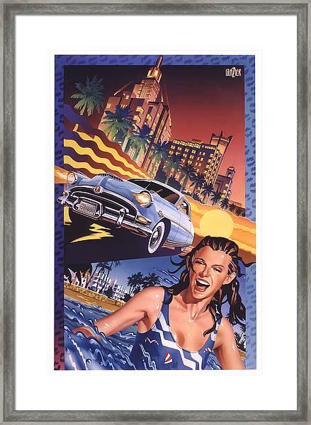 Hudson Hornet In Miami Beach Framed Print