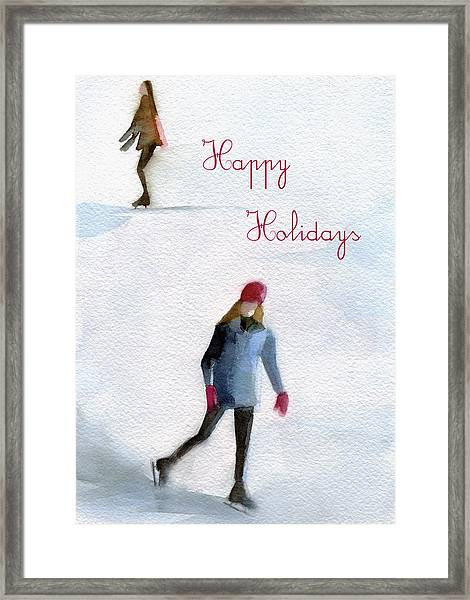 Ice Skaters Holiday Card Framed Print