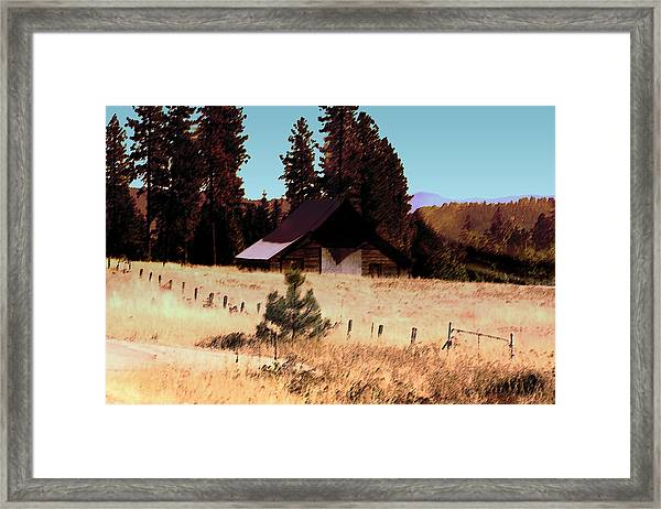 Idaho Barn Painting Framed Print by Mary Gaines