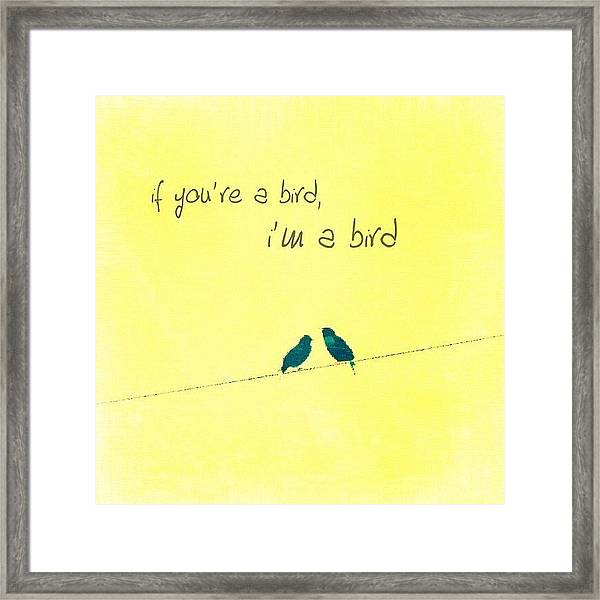 if You're A Bird, I'm A Bird. Framed Print