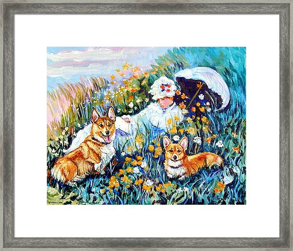 In The Field With Corgis After Monet Framed Print by Lyn Cook
