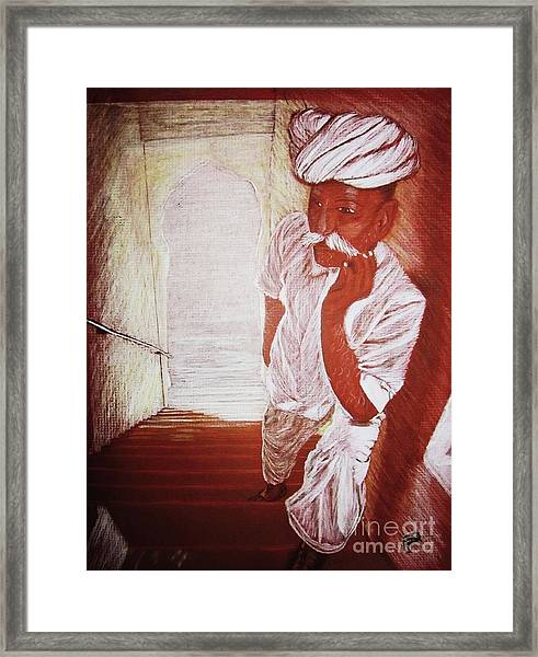 India White Cloth The Seasoning Of Peace Framed Print