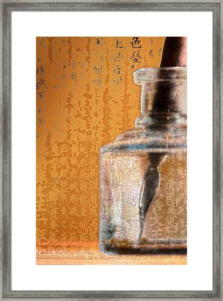 Ink Bottle Calligraphy Framed Print