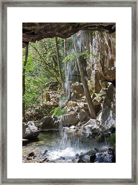 Inside The Waterfall Framed Print