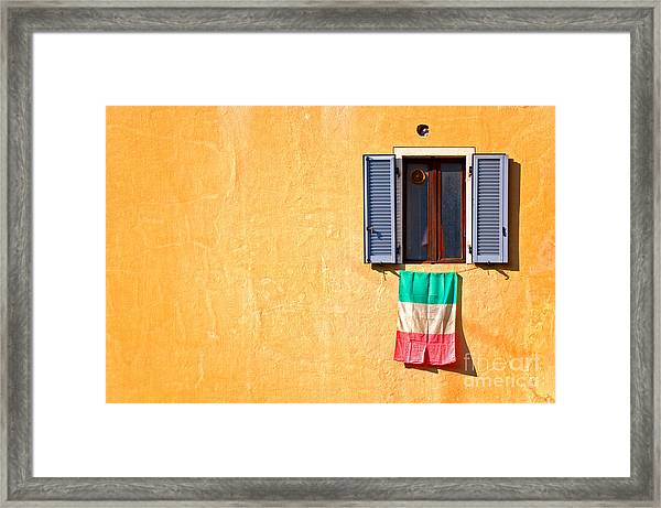Italian Flag Window And Yellow Wall Framed Print