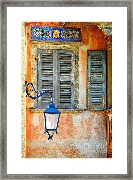 Italian Street Lamp With Window And Decorated Wall Framed Print