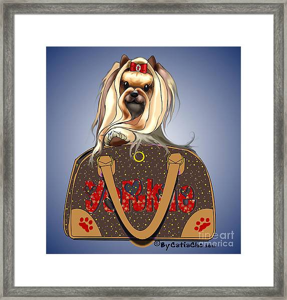 It's A Yorkie In A Bag  Framed Print