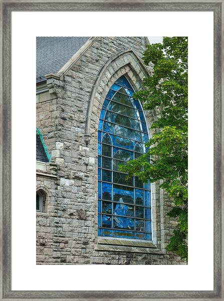Jesus And Stained Glass Framed Print