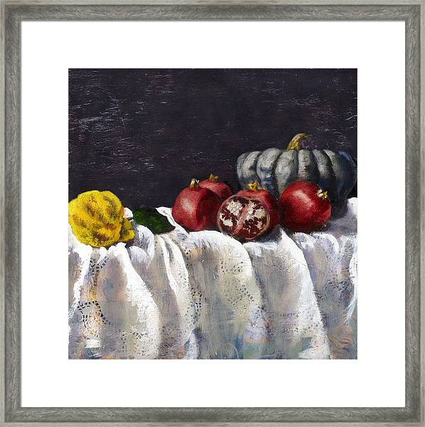 Lace Tablecloth Framed Print