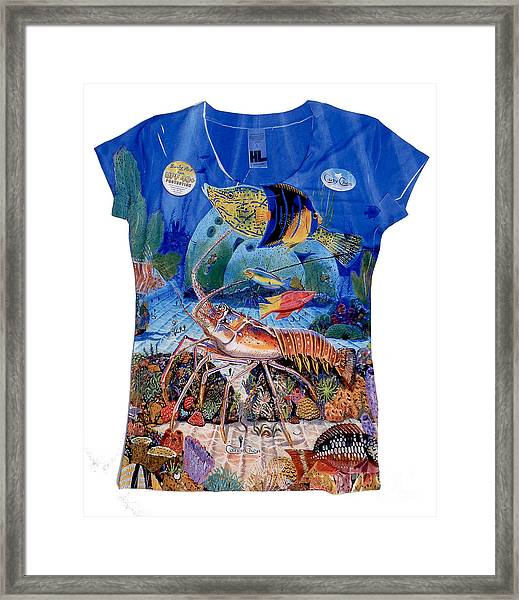 Ladies Lobster Reef Shirt Framed Print