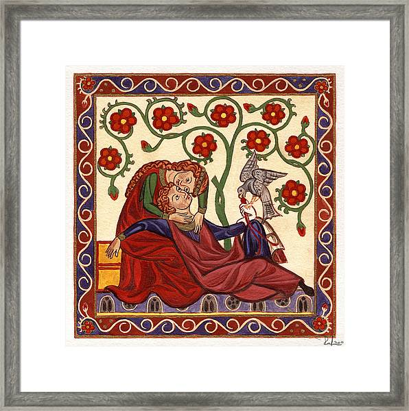 Lady And Knight With Hawk Framed Print