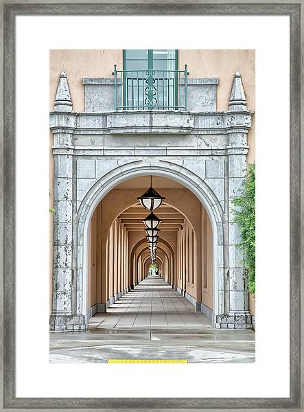 Lamps And Arches Framed Print