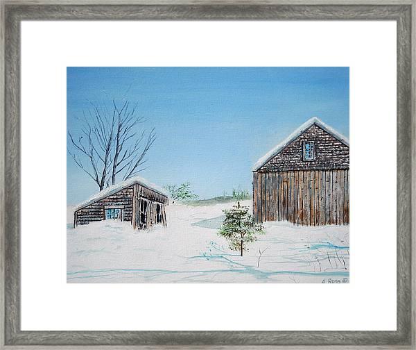 Last Barn In Winter Framed Print