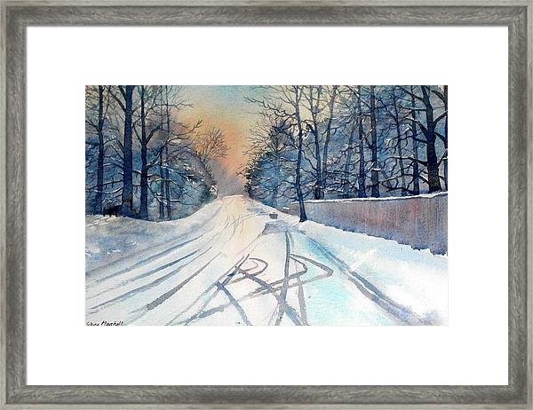 Layby In The Snow Framed Print