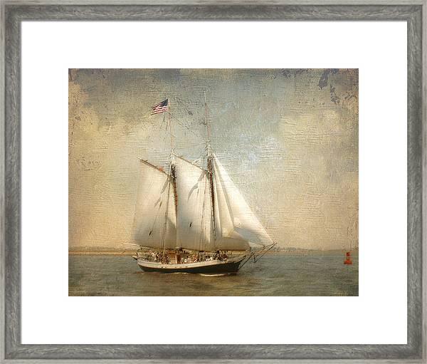 Liberty Clipper On Boston Harbor Framed Print