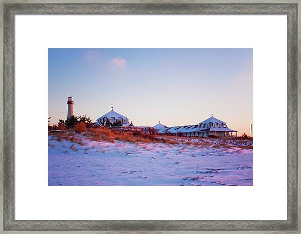 Lighthouse And St Mary's By The Sea Framed Print