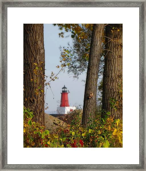 Lighthouse Mist Framed Print
