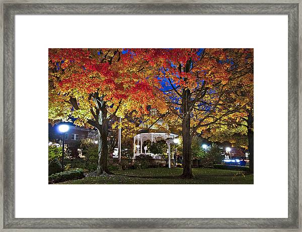 Framed Print featuring the photograph Ligonier Diamond At Night by Williams-Cairns Photography LLC