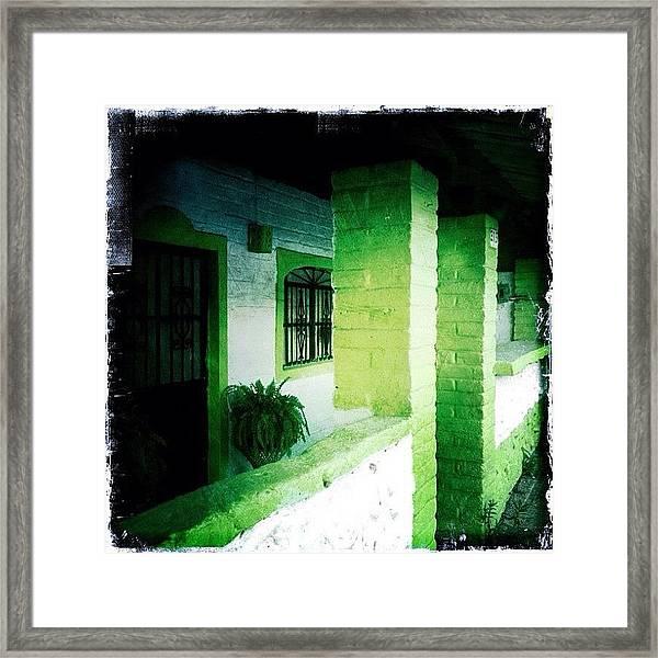 Lime Green & White House (puerto Framed Print