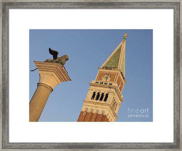 Lion And Campanile. Venice Framed Print