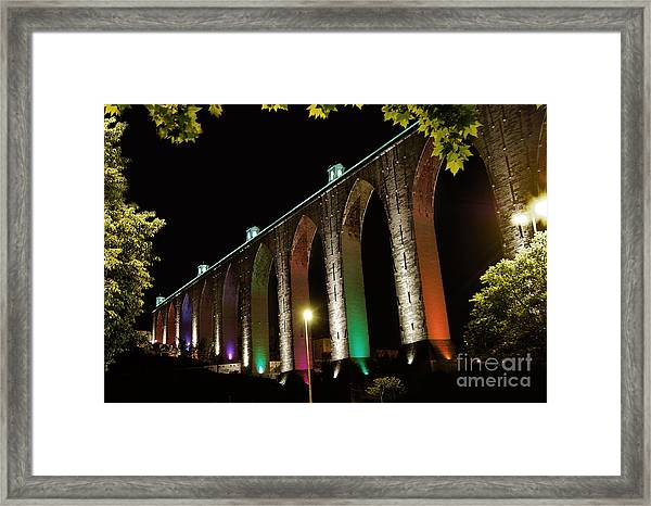 Lisbon Historic Aqueduct By Night Framed Print
