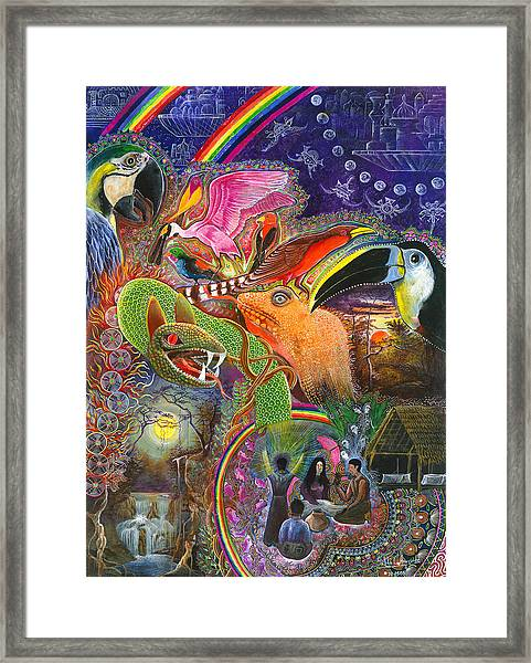 Framed Print featuring the painting Llullu Machaco  by Pablo Amaringo