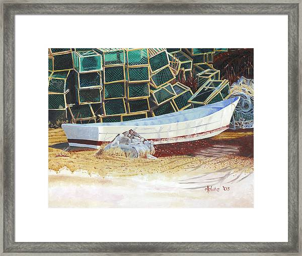 Framed Print featuring the painting Lobster Traps And Dory by Dominic White
