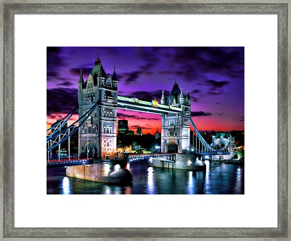 London Evening At Tower Bridge Framed Print