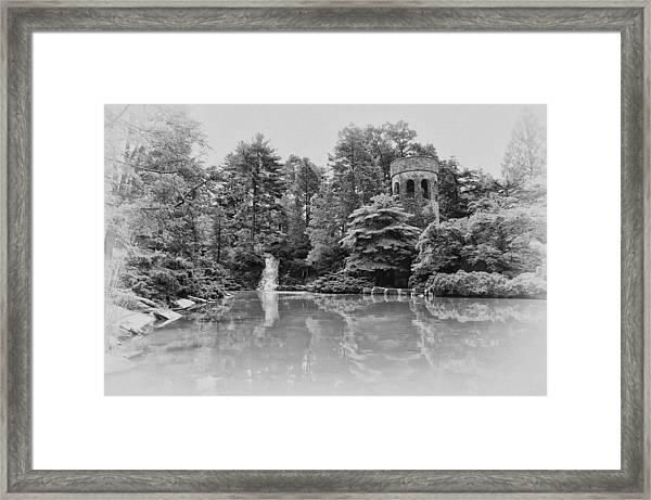 Longwood Gardens Castle In Black And White Framed Print