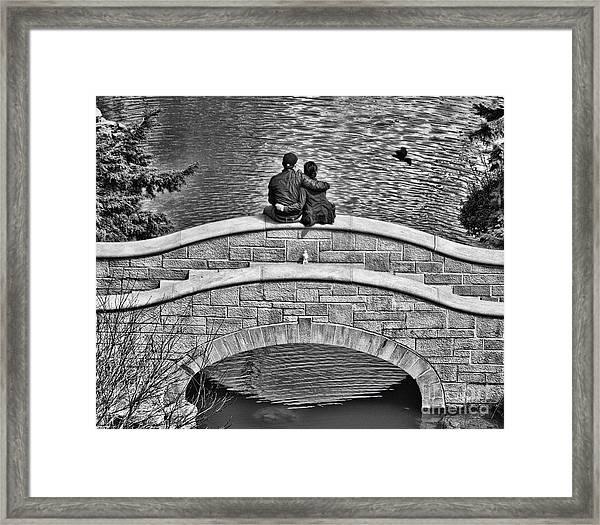 Lovers On A Bridge  Framed Print