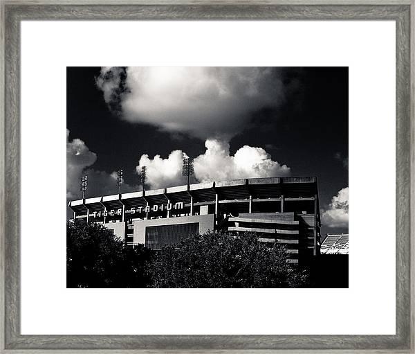 Lsu Tiger Stadium Black And White Framed Print
