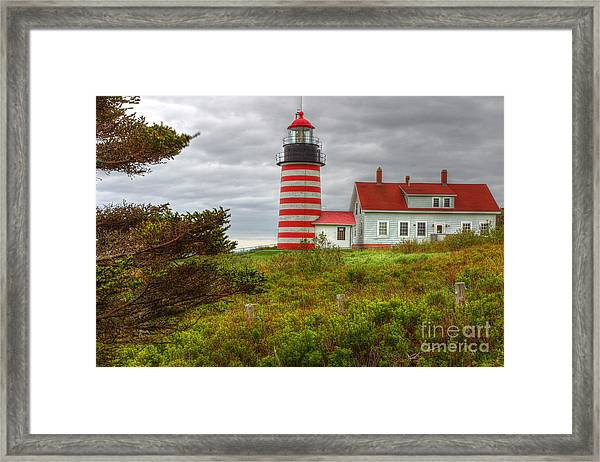 Maine Lighthouse At Lubec. Framed Print by Rick Mann