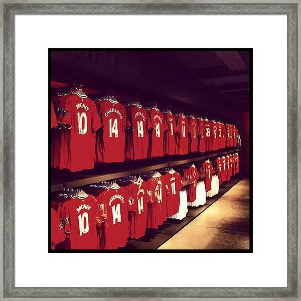 #manchesterunited #manunited #megastore Framed Print